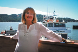 U.S.C.G Certified Captain Maggie McDonogh stationed on-location at her Tiburon California Dock for The Ark Newspaper's coverage of her resent acceptance of the Tiburon Chamber of Commerce 2014 Business Citizen of the Year Award.