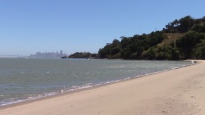 Angel Island's Quarry Beach offers a white sandy beach for strolling with million dollar views of the San Francisco skyline