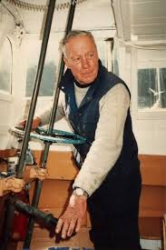 At the wheel - Angel Island Ferry founder, Captain Milton McDonogh, Captain Maggie McDonogh's father.