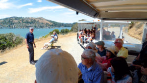 Angel Island Company offers open-air tram rides on Angel Island State Park.
